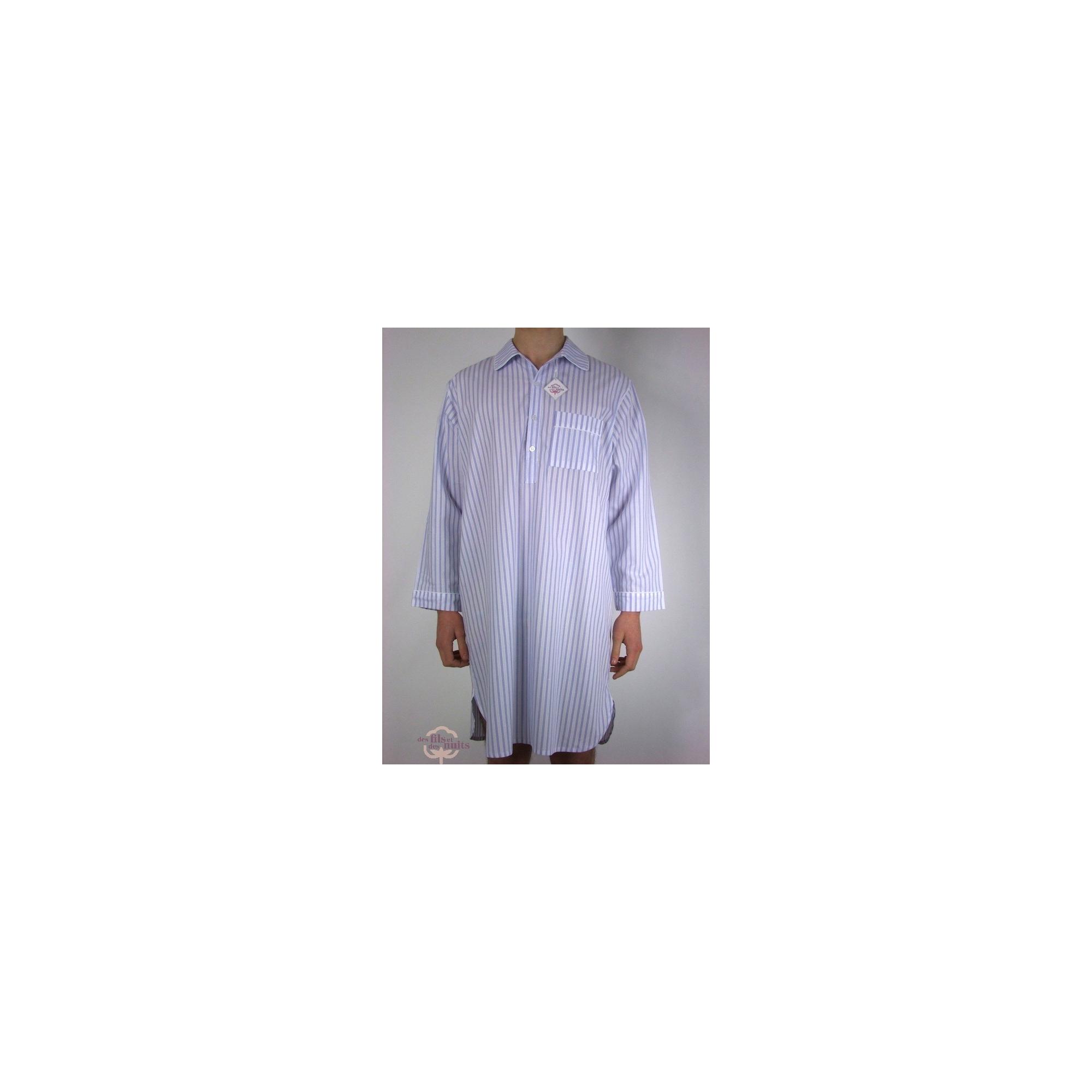 chemise de nuit pour homme 100 coton qualit t coloris ray blanc bleu. Black Bedroom Furniture Sets. Home Design Ideas