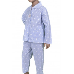 Pyjama long fille, Vichy chevaux