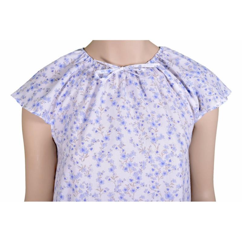 Chemise de nuit femme, Fleurs bleues