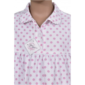 Pyjama long fille en pilou - Pois Rose