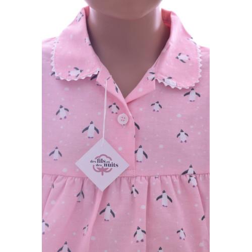 Chemise de nuit manches longues en pilou, Pingouin Rose