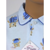 Pyjama long garçon en pilou, Teddy bleu