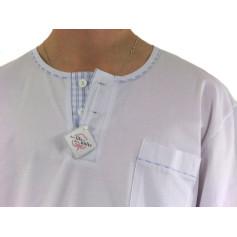 Pyjamas homme, jersey et tissu 100% coton, carreaux ciel/blanc