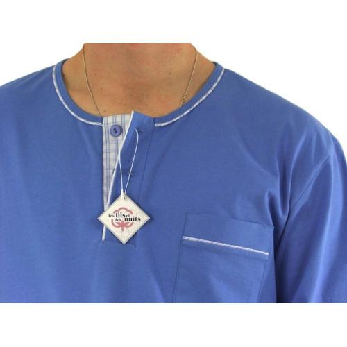 Pyjamas homme, jersey et tissu 100% coton, carreaux ciel/bleu