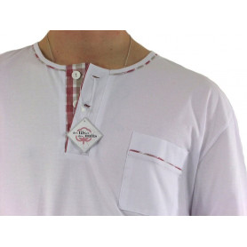 Pyjama homme jersey Carreaux rouge-beige/blanc