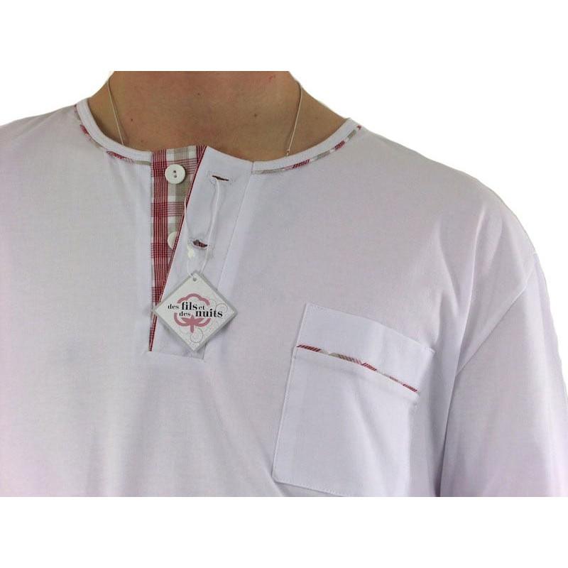Pyjamas homme, jersey et tissu 100% coton, carreaux rouge/blanc