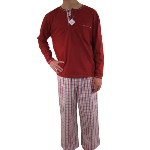 Pyjamas homme, jersey et tissu 100% coton, carreaux rouge/Rouge