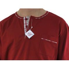 Pyjama homme jersey Carreaux rouge/beige/rouge