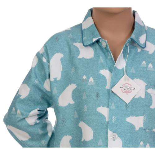Pyjama long garçon en coton pilou, Banquise