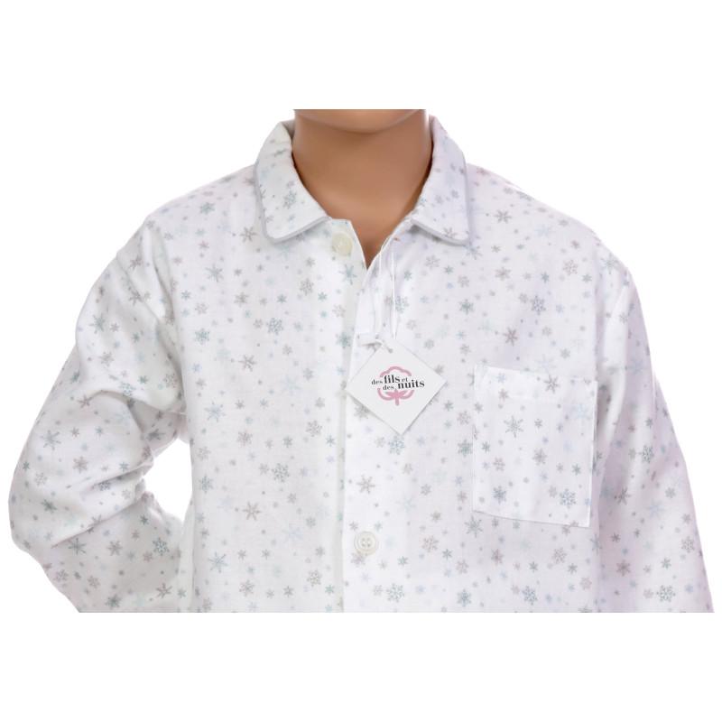 Pyjama long garçon en coton pilou, Flocons