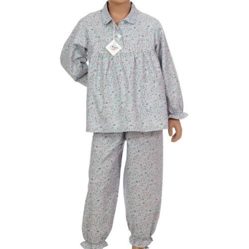 Pyjama long fille en coton sergé, Carmin