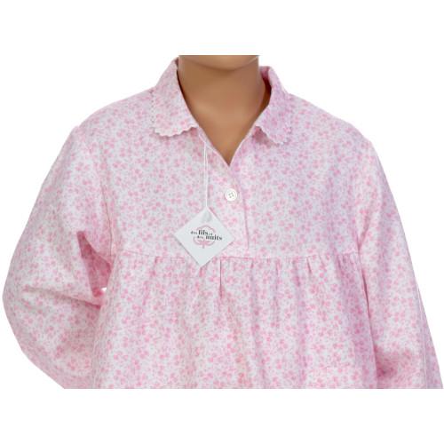 Pyjama long fille en pilou, Fleurs