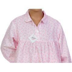 Pyjama long fille en pilou, Fleurs Rose