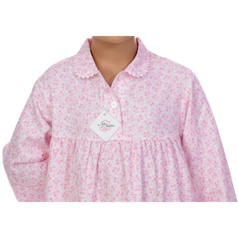 Chemise de nuit fille en pilou, Fleurs Rose