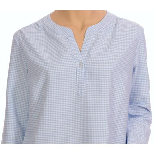 Chemise de nuit femme, forme liquette en pilou, Vichy bleu