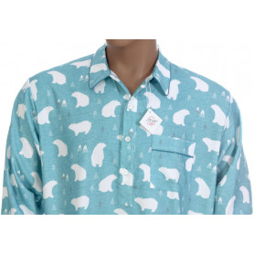 Chemise de nuit homme en coton pilou, Banquise