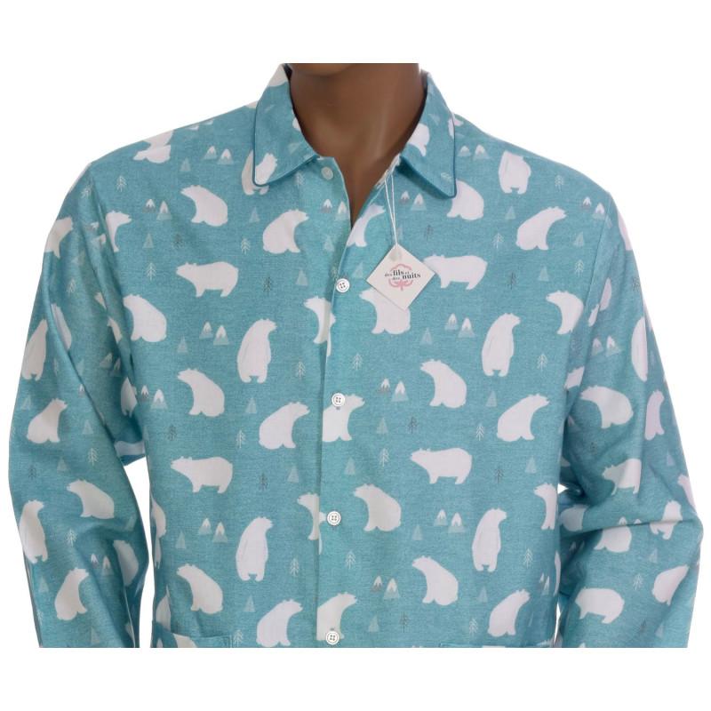 Pyjama long homme en coton pilou, Banquise