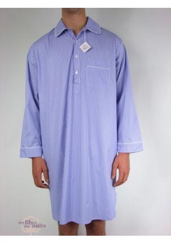 chemise de nuit pour homme 100 coton qualit t coloris azur. Black Bedroom Furniture Sets. Home Design Ideas