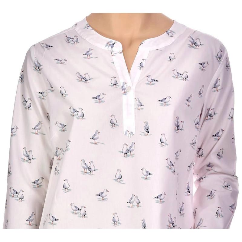 Chemise de nuit femme forme liquette en coton Bio, Mouettes