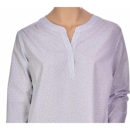 Chemise de nuit femme forme liquette en coton, Panthere gris
