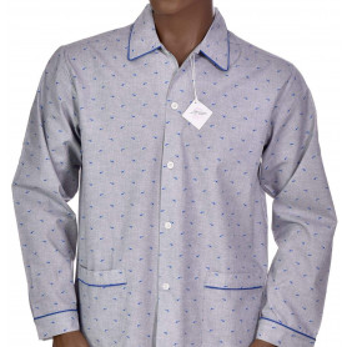Pyjama long homme en coton, Dauphins