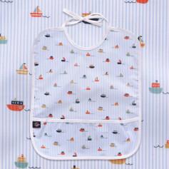 Bavoir bébé en coton enduit, Jour de Pêche