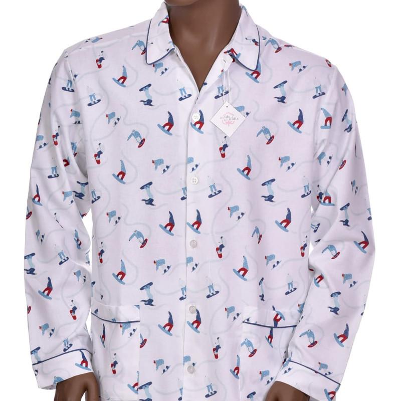 Pyjama long homme en coton pilou, Snowboard