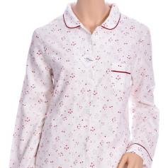 Pyjama femme en coton pilou, Bouquets