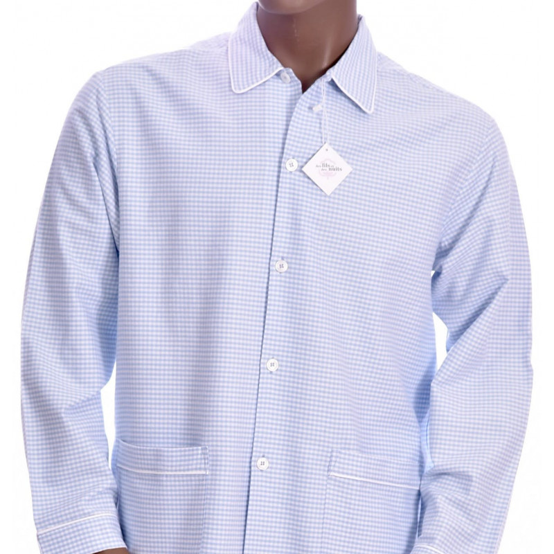 Pyjama long homme, en flanelle Vichy bleu