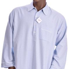 Chemise de nuit homme en flanelle, Vichy Bleu
