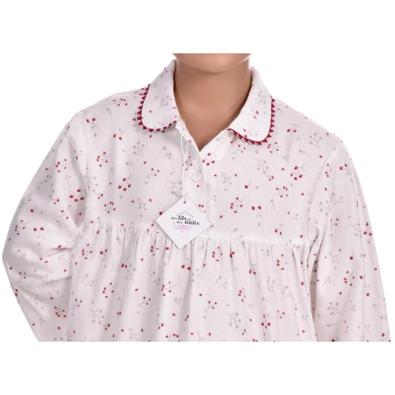 Chemise de nuit fille en pilou, Bouquets