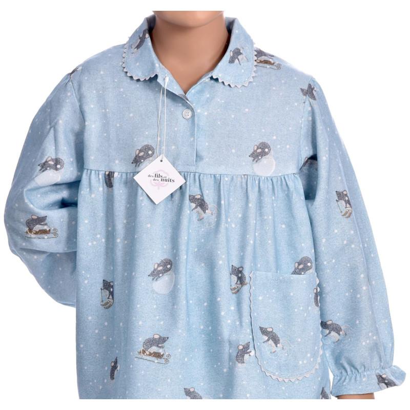 Pyjama long fille en pilou, Souris