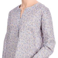 Liquette femme manches longues en voile de coton imprimé Fleurs Bleues