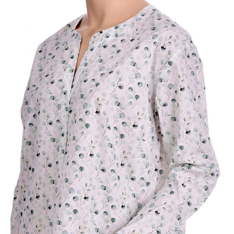 Liquette femme manches longues en popeline de coton, imprimé Naturel