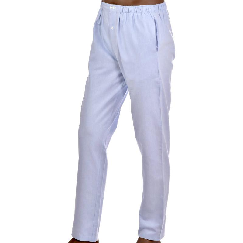 Pantalon d'intérieur pour homme en coton, Oxford Bleu
