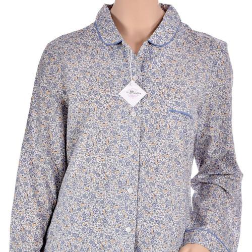 Pyjama femme classique en voile de coton, Fleurs Bleues