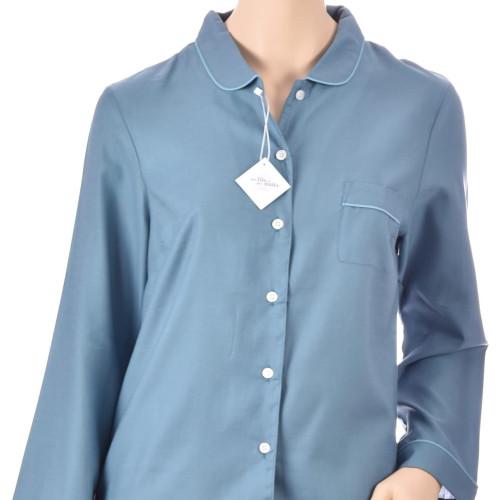 Pyjama femme classique en satin de coton, Uni Bleu