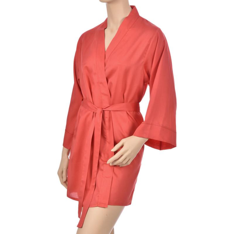 Kimono en satin de coton, Uni rouge