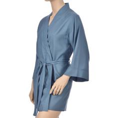 Kimono en satin de coton, Uni bleu