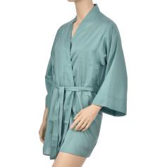 Kimono en satin de coton, Uni Vert