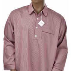Chemise de nuit homme en satin de coton, Riviera Brique