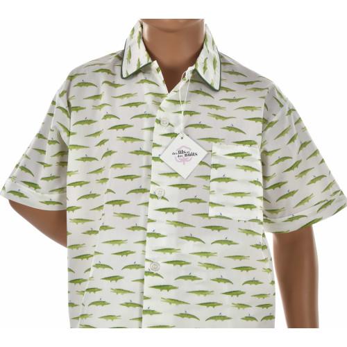 Pyjashort garçon en popeline de coton, Crocodile