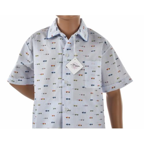 Pyjama court garçon en popeline de coton, petits bolides