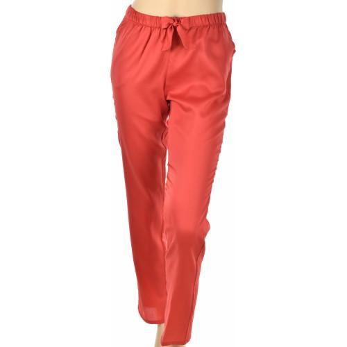 Pantalon d'intérieur en satin de coton, Uni rouge