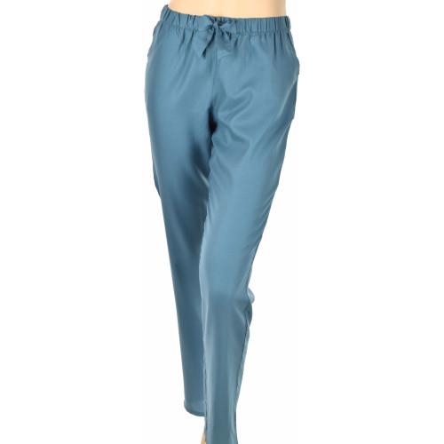 Pantalon d'intérieur en satin de coton, Uni Bleu Océan