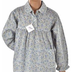 Pyjama fille en voile de coton Bio, Fleuri bleu