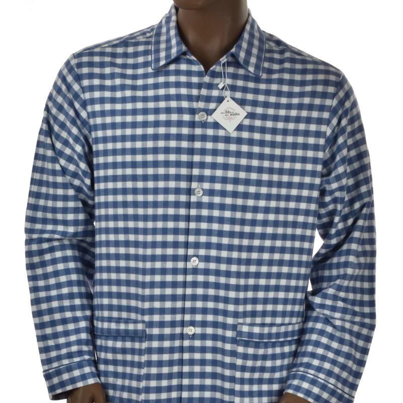 Pyjama long homme en coton pilou , Carreaux bleu.