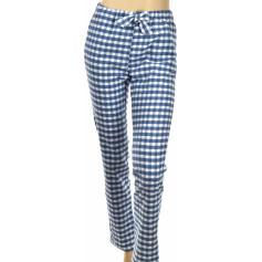 Pantalon d'intérieur en pilou 100% coton, Carreaux Marine