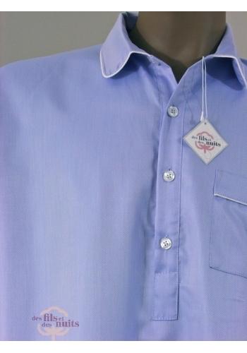 chemise de nuit pour homme 100 coton qualit t unie bleu. Black Bedroom Furniture Sets. Home Design Ideas